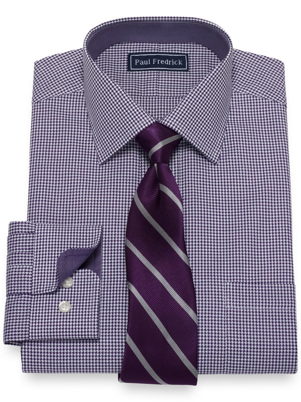 Pure Cotton Broadcloth Houndstooth Dress Shirt with Contrast Trim