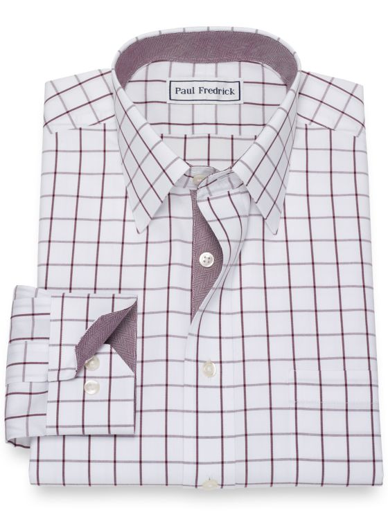 Non-Iron Cotton Pinpoint Windowpane Dress Shirt with Contrast Trim