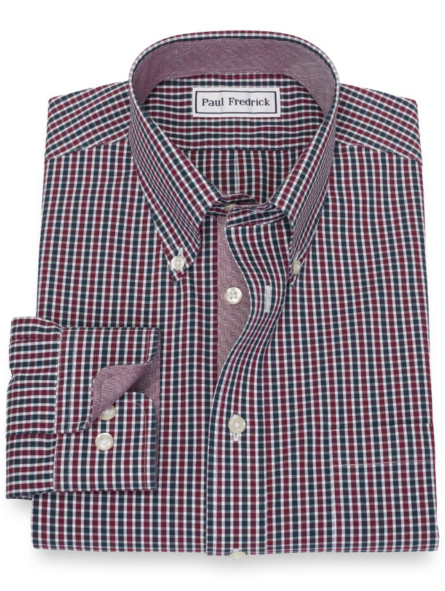 Non-Iron Cotton Mini Check Dress Shirt
