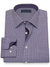 Slim Fit Pure Cotton Broadcloth Houndstooth Dress Shirt with Contrast Trim