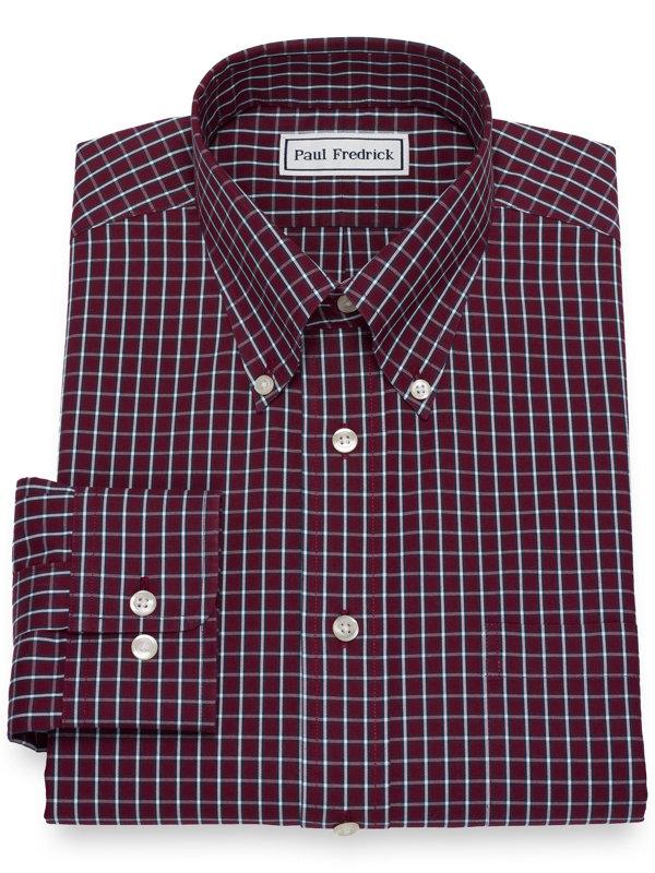 Non-Iron Cotton Pinpoint Grid Dress Shirt