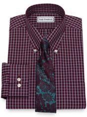 Slim Fit Non-Iron Cotton Pinpoint Grid Dress Shirt