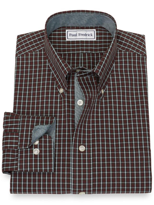 Slim Fit Non-Iron Cotton Grid Dress Shirt