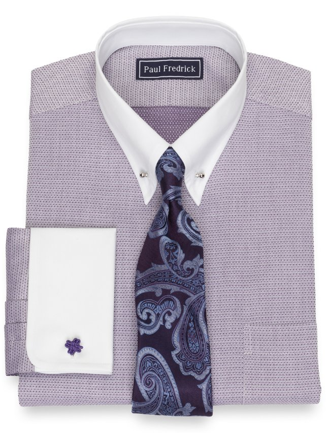 Slim Fit Cotton Mini Diamond Dress Shirt