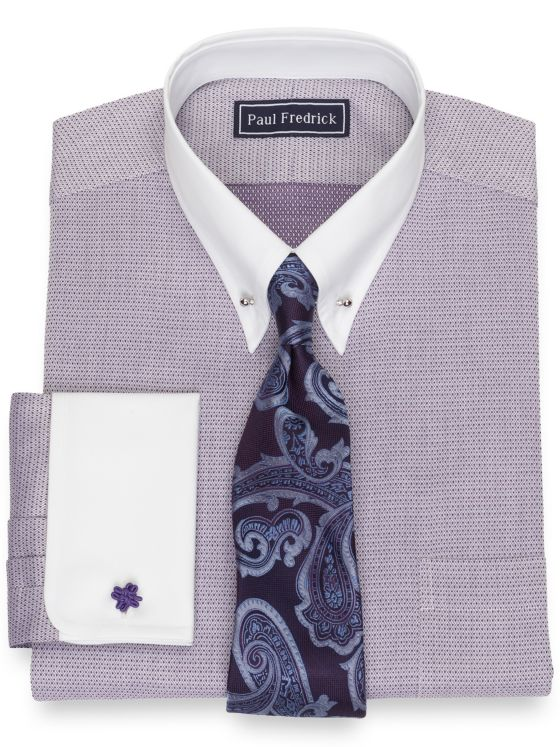 Slim Fit Pure Cotton Broadcloth Mini Diamond Dress Shirt