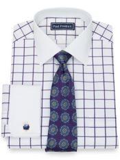 Pure Cotton Broadcloth Windowpane Dress Shirt