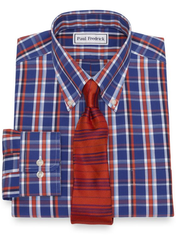 Non-Iron Cotton Pinpoint Plaid Dress Shirt