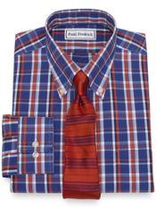 Slim Fit Non-Iron Cotton Pinpoint Plaid Dress Shirt