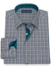 Pure Cotton Broadcloth Windowpane Dress Shirt with Contrast Trim
