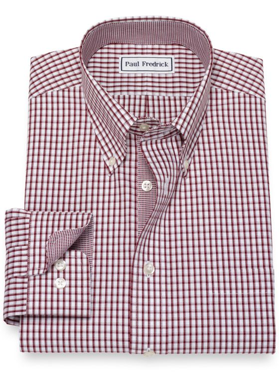 Slim Fit Non-Iron Cotton Pinpoint Grid Dress Shirt with Contrast Trim