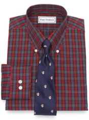 Non-Iron Cotton Pinpoint Tartan Dress Shirt