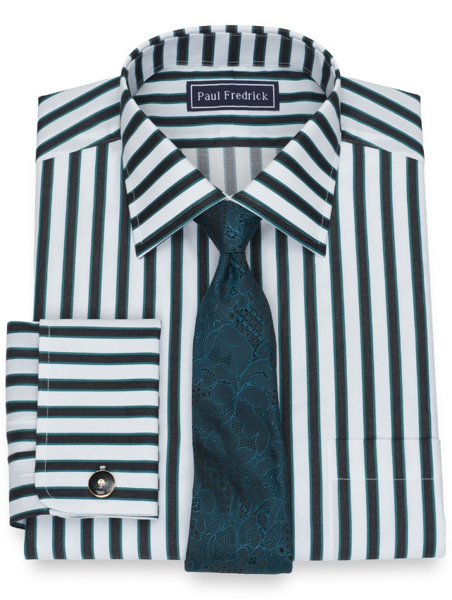 Slim Fit Cotton Shadow Stripe Dress Shirt