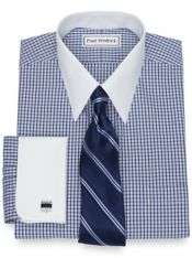 Slim Fit Non-Iron Cotton Pinpoint Check Dress Shirt