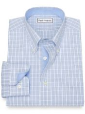 Non-Iron Cotton Broadcloth Tattersall Dress Shirt with Contrast Trim