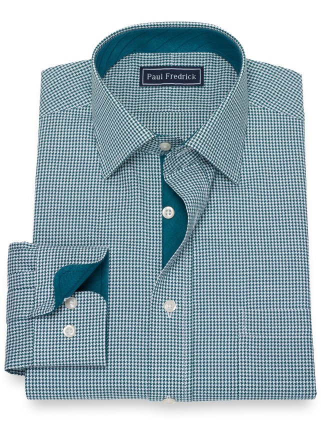 Slim Fit Cotton Houndstooth Dress Shirt