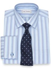 Slim Fit Non-Iron Cotton Broadcloth Stripe Dress Shirt