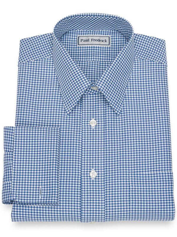 Impeccable Non-Iron Cotton Houndstooth Dress Shirt