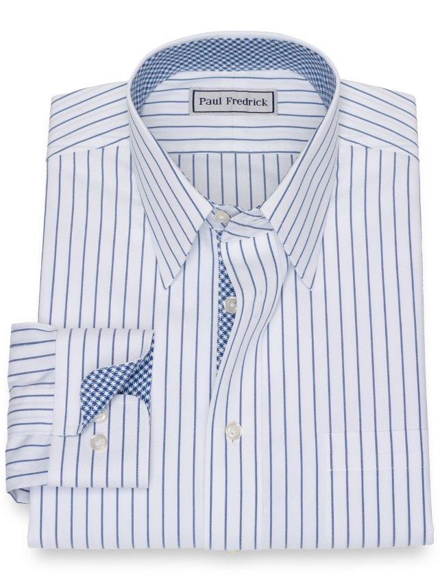 Slim Fit Non-Iron Impeccable Cotton Stripe Dress Shirt