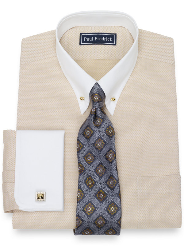 Slim Fit Pure Cotton Broadcloth Twill Diamond Dress Shirt