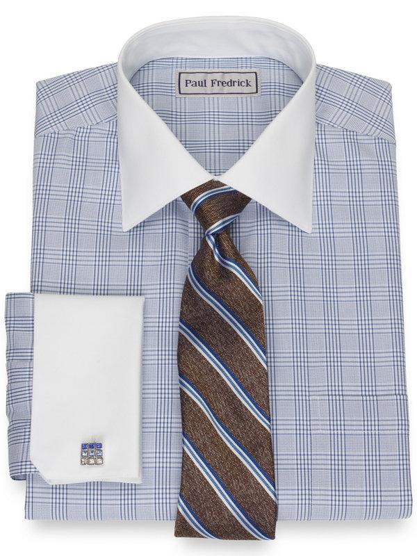 Slim Fit Impeccable Non-Iron Cotton Pinpoint Glen Plaid Dress Shirt
