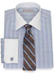 Slim Fit Impeccable Non-Iron Cotton Pinpoint Glen Plaid Dress Shirt