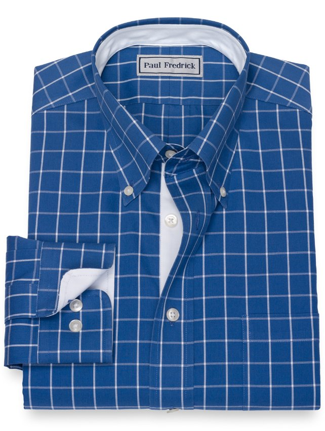 Impeccable Non-Iron Cotton Pinpoint Windowpane Dress Shirt with Contrast Trim
