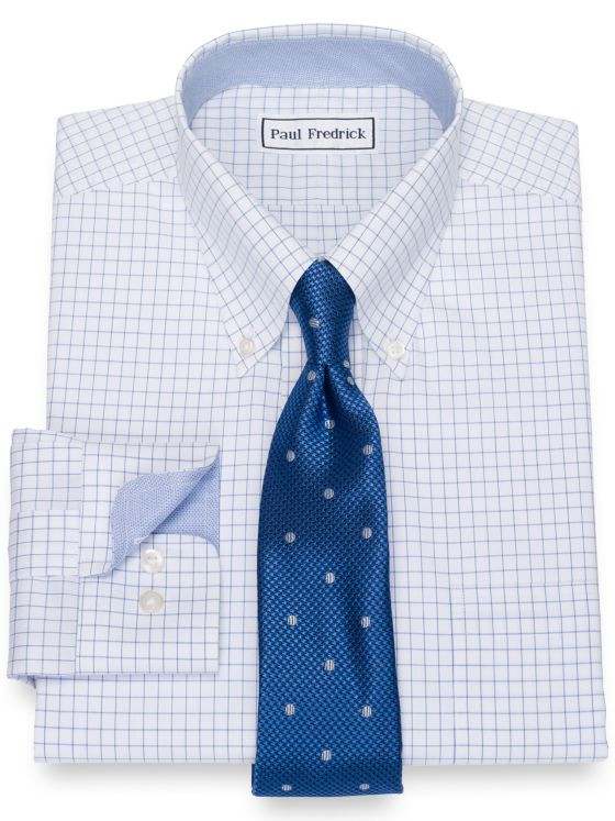 Impeccable Non-Iron Cotton Pinpoint Check Dress Shirt with Contrast Trim