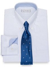 Slim Fit Impeccable Non-Iron Cotton Pinpoint Check Dress Shirt with Trim