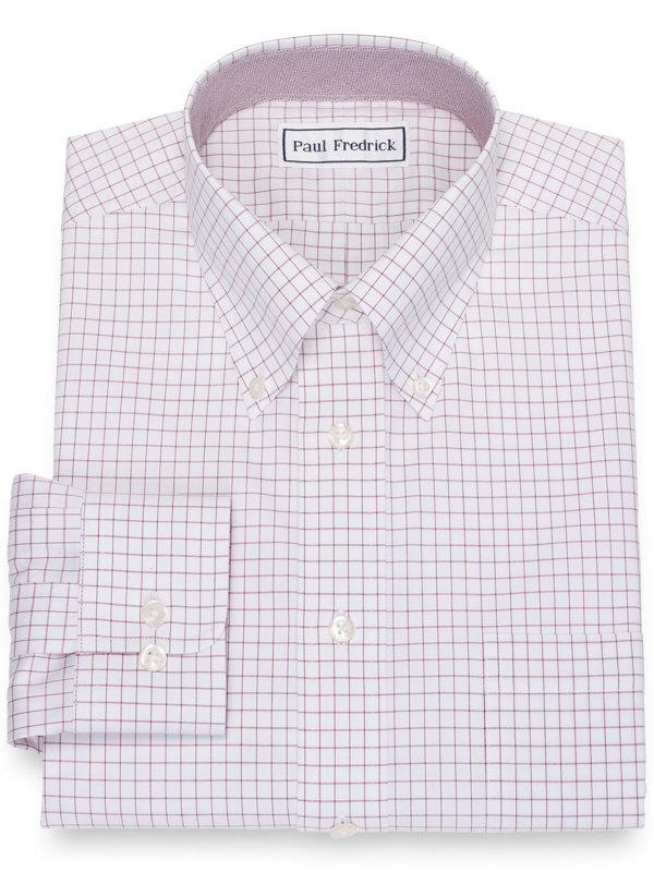 Slim Fit Impeccable Non-Iron Cotton Pinpoint Check Dress Shirt with Trim