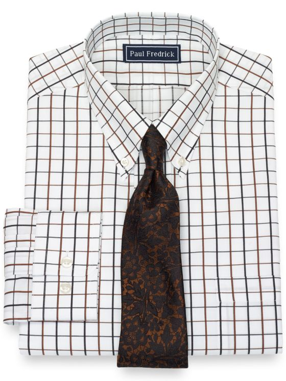 Pure Cotton Broadcloth Grid Dress Shirt