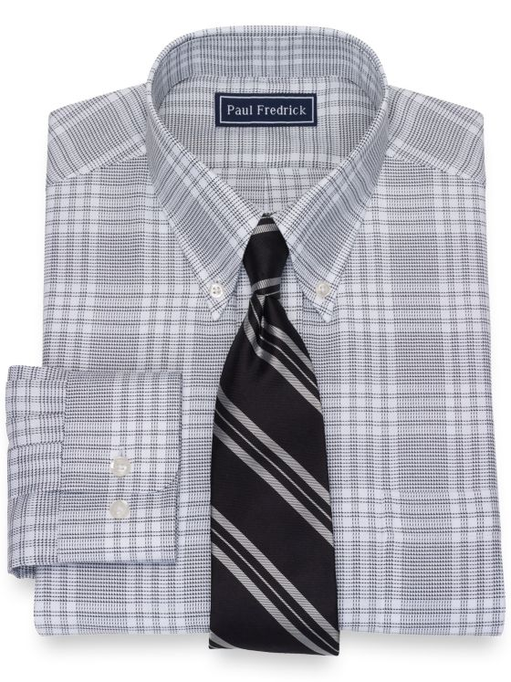 Slim Fit Pure Cotton Broadcloth Plaid Dress Shirt