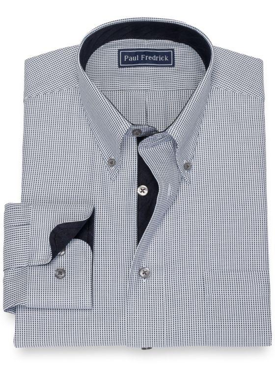 Pure Cotton Broadcloth Chevron Dress Shirt with Contrast Trim