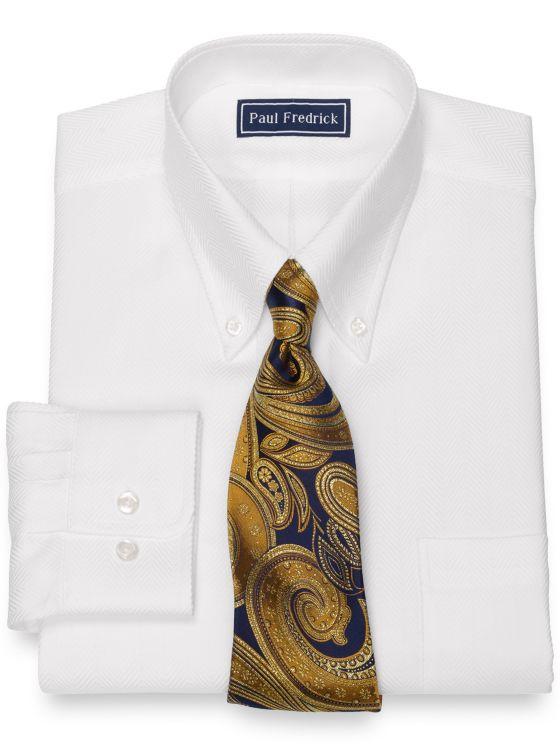 Pure Cotton Broadcloth Herringbone Dress Shirt
