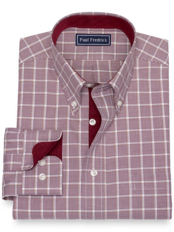 Pure Cotton Broadcloth Windowpane Dress Shirt with Contrast Trim