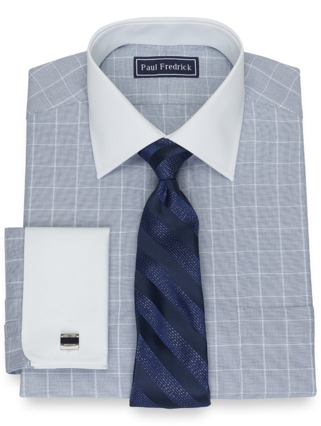 Cotton Twill Grid Dress Shirt
