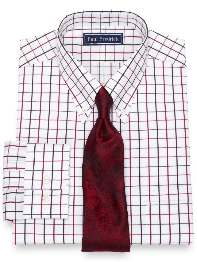 Slim Fit Cotton Satin Grid Dress Shirt
