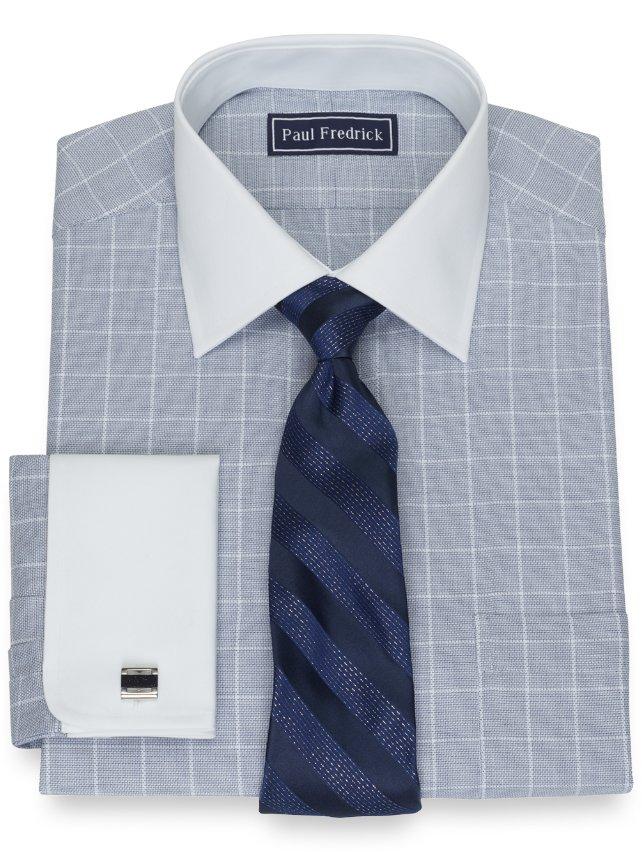 Slim Fit Cotton Twill Grid Dress Shirt