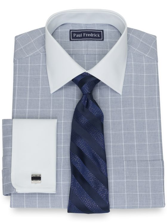 Slim Fit Pure Cotton Broadcloth Grid Dress Shirt