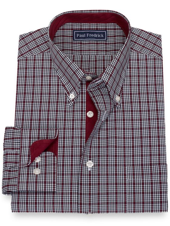 Pure Cotton Broadcloth Check Dress Shirt with Contrast Trim