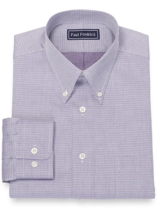 Pure Cotton Broadcloth Mini Diamond Dress Shirt