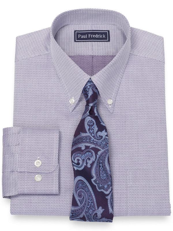 Slim Fit Pure Cotton Broadcloth Mini Diamond Dress Shirt