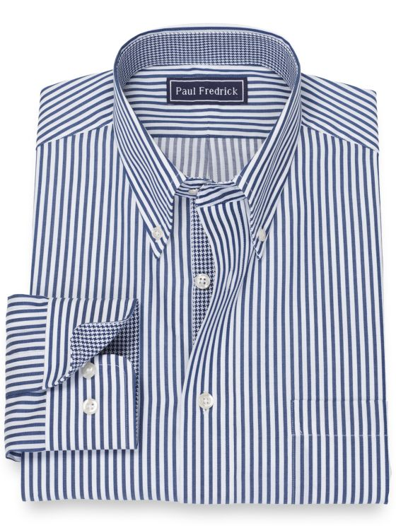 Slim Fit Pure Cotton Broadcloth Stripe Dress Shirt with Contrast Trim