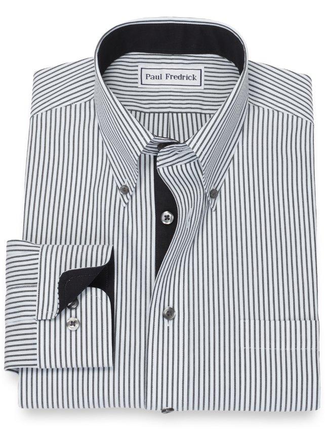 Non-Iron Cotton Strip Dress Shirt