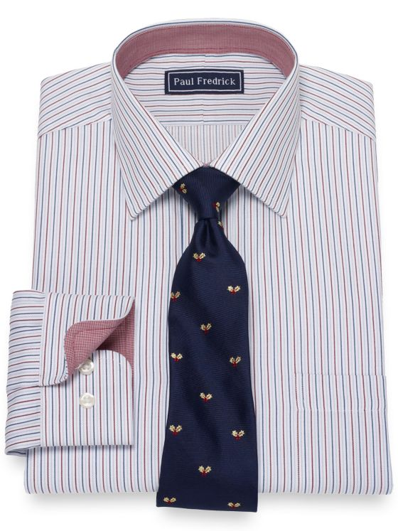 Pure Cotton Broadcloth Stripe Dress Shirt with Contrast Trim