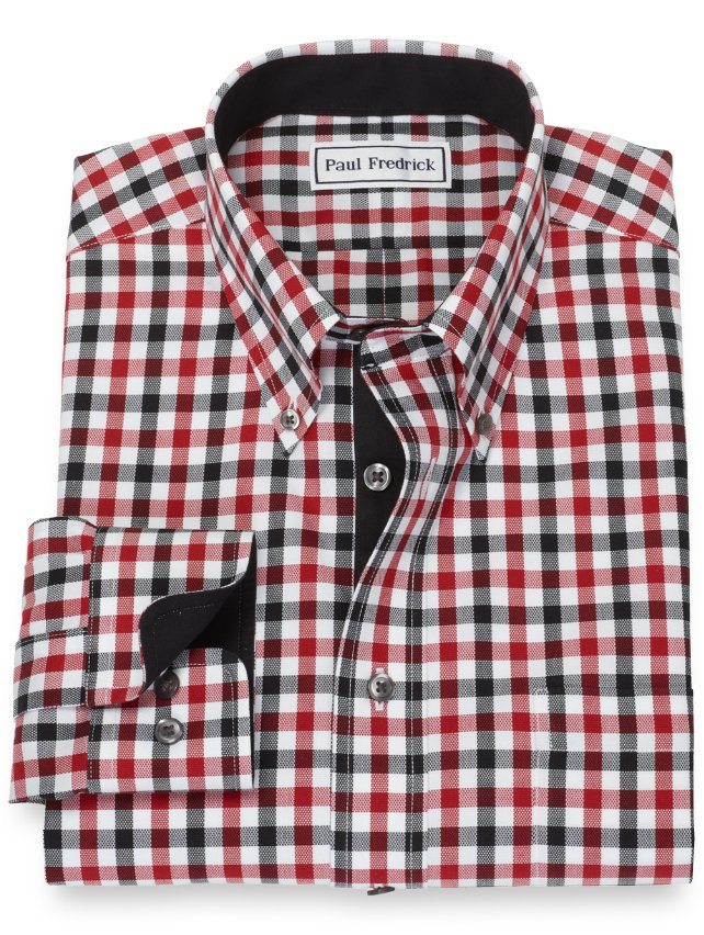Slim Fit Gingham Non-Iron Cotton Dress Shirt