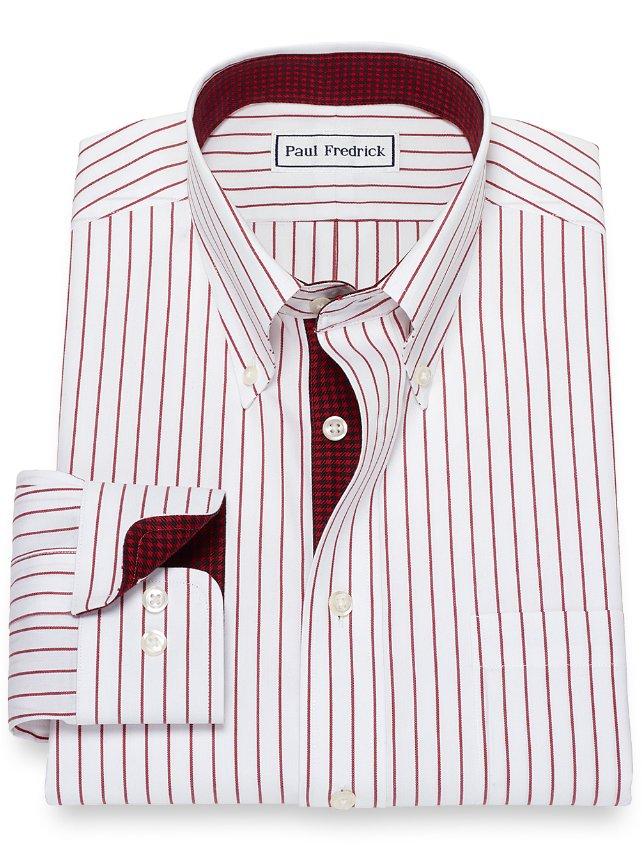 Slim Fit Stripe Non-Iron Cotton Dress Shirt