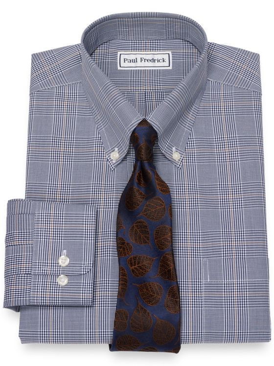 Slim Fit Non-Iron Cotton Broadcloth Glen Plaid Dress Shirt