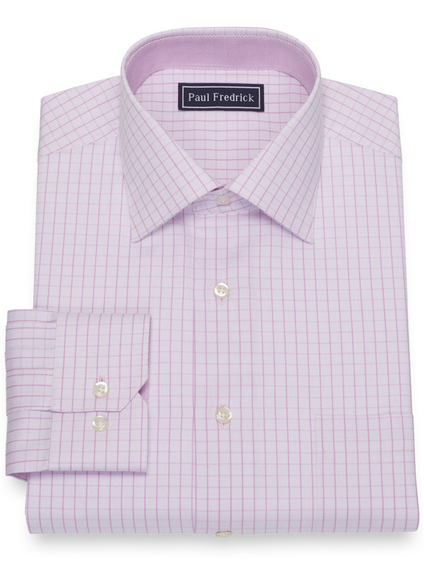 Pure Cotton Broadcloth Grid Dress Shirt with Contrast Trim