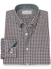 Slim Fit Non-Iron Cotton Gingham Dress Shirt with Contrast Trim