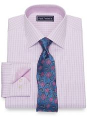Slim Fit Pure Cotton Broadcloth Grid Dress Shirt with Contrast Trim